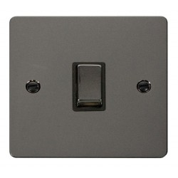 Click Define Black Nickel Flat Plate Ingot 20A 1 Gang Double Pole Switch with Black Insert