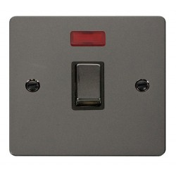 Click Define Black Nickel Flat Plate Ingot 20A 1 Gang Double Pole Switch with Neon with Black Insert