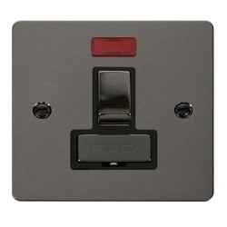 Click Define Black Nickel Flat Plate Ingot 13A Switched Connection Unit with Neon with Black Insert