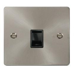 Click Define Brushed Steel Flat Plate Single RJ11 Socket (Ireland/USA) with Black Insert