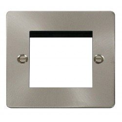 Click Define Brushed Steel Flat Plate 1 Gang Twin Aperture