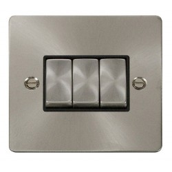 Click Define Brushed Steel Flat Plate Ingot 10AX 3 Gang 2 Way Switch with Black Insert