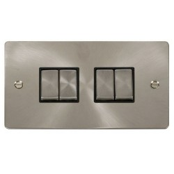 Click Define Brushed Steel Flat Plate Ingot 10AX 4 Gang 2 Way Switch with Black Insert