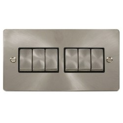 Click Define Brushed Steel Flat Plate Ingot 10AX 6 Gang 2 Way Switch with Black Insert