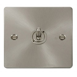 Click Define Brushed Steel Flat Plate 10AX 1 Gang 2 Way Toggle Switch