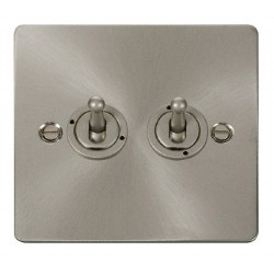 Click Define Brushed Steel Flat Plate 10AX 2 Gang 2 Way Toggle Switch