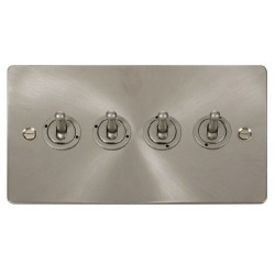 Click Define Brushed Steel Flat Plate 10AX 4 Gang 2 Way Toggle Switch