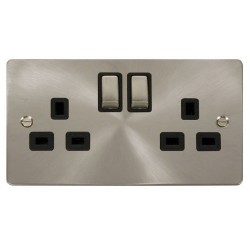 Click Define Brushed Steel Flat Plate Ingot 2 Gang 13A Double Pole Switched Socket with Black Insert