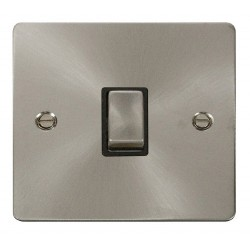 Click Define Brushed Steel Flat Plate Ingot 20A 1 Gang Double Pole Switch with Black Insert