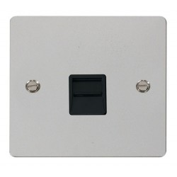 Click Define Polished Chrome Flat Plate Single Telephone Socket Secondary with Black Insert