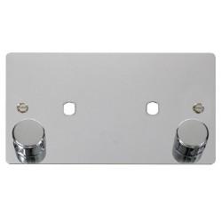 Click Define Polished Chrome Flat Plate 2 Gang Plate 2 Dimmer Module Aperture (1630W Max)