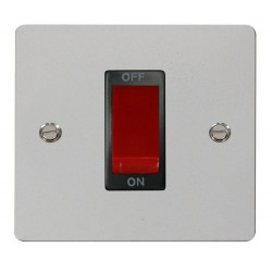 Click Define Polished Chrome Flat Plate 1 Gang 45A Double Pole Switch with Black Insert