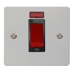 Click Define Polished Chrome Flat Plate 1 Gang 45A Double Pole Switch with Neon with Black Insert