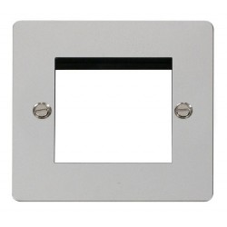 Click Define Polished Chrome Flat Plate 1 Gang Twin Aperture