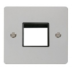 Click Define Polished Chrome Flat Plate 1 Gang Plate Twin Switch Aperture with Black Insert