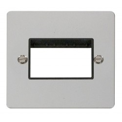Click Define Polished Chrome Flat Plate 1 Gang Plate Triple Switch Aperture with Black Insert