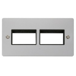 Click Define Polished Chrome Flat Plate 2 Gang Plate (3+3) Switch Aperture with Black Insert
