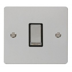 Click Define Polished Chrome Flat Plate Ingot 10AX 1 Gang 2 Way Switch with Black Insert