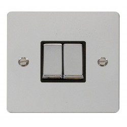 Click Define Polished Chrome Flat Plate Ingot 10AX 2 Gang 2 Way Switch with Black Insert