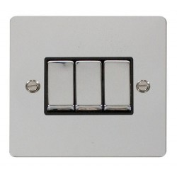 Click Define Polished Chrome Flat Plate Ingot 10AX 3 Gang 2 Way Switch with Black Insert