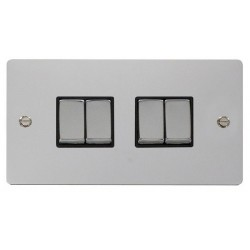 Click Define Polished Chrome Flat Plate Ingot 10AX 4 Gang 2 Way Switch with Black Insert