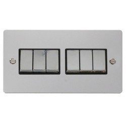 Click Define Polished Chrome Flat Plate Ingot 10AX 6 Gang 2 Way Switch with Black Insert
