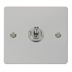 Click Define Polished Chrome Flat Plate 10AX 1 Gang 2 Way Toggle Switch