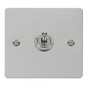 Click Define Polished Chrome Flat Plate 10AX 1 Gang 2 Way Toggle Switch