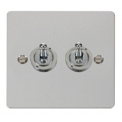 Click Define Polished Chrome Flat Plate 10AX 2 Gang 2 Way Toggle Switch