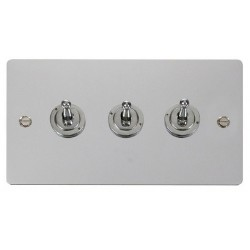 Click Define Polished Chrome Flat Plate 10AX 3 Gang 2 Way Toggle Switch