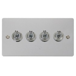 Click Define Polished Chrome Flat Plate 10AX 4 Gang 2 Way Toggle Switch