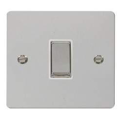 Click Define Polished Chrome Flat Plate Ingot 10AX 1 Gang Intermediate Switch with White Insert