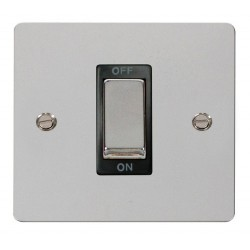 Click Define Polished Chrome Flat Plate Ingot 1 Gang 45A Double Pole Switch with Black Insert