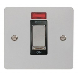 Click Define Polished Chrome Flat Plate Ingot 1 Gang 45A Double Pole Switch With Neon with Black Insert