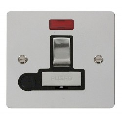 Click Define Polished Chrome Flat Plate Ingot 13A Switched Connection Unit and Flex Outlet with Neon with Black Insert