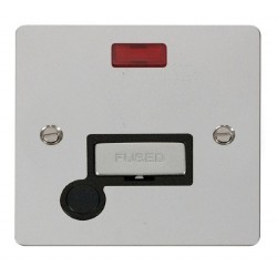Click Define Polished Chrome Flat Plate Ingot 13A Connection Unit and Flex Outlet with Neon with Black Insert