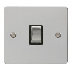 Click Define Polished Chrome Flat Plate Ingot 20A 1 Gang Double Pole Switch with Black Insert