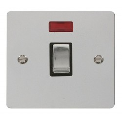 Click Define Polished Chrome Flat Plate Ingot 20A 1 Gang Double Pole Switch with Neon with Black Insert