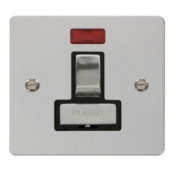 Click Define Polished Chrome Flat Plate Ingot 13A Switched Connection Unit with Neon with Black Insert