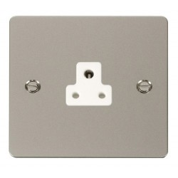 Click Define Pearl Nickel Flat Plate 2A Round Pin Socket Outlet with White Insert