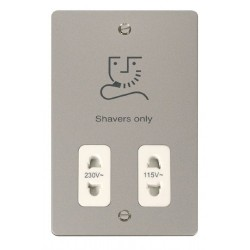 Click Define Pearl Nickel Flat Plate 115/230V Shaver Socket Outlet with White Insert