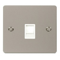 Click Define Pearl Nickel Flat Plate Single RJ11 Socket (Ireland/USA) with White Insert