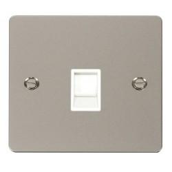 Click Define Pearl Nickel Flat Plate Single RJ11 Socket (Ireland/USA) with White Insert