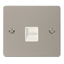 Click Define Pearl Nickel Flat Plate Single Telephone Socket Master with White Insert