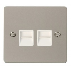 Click Define Pearl Nickel Flat Plate Twin Telephone Socket Master with White Insert