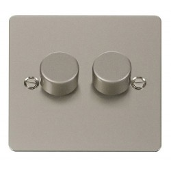 Click Define Pearl Nickel Flat Plate 2 Gang 2 Way 400W Dimmer Switch