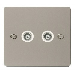 Click Define Pearl Nickel Flat Plate 2 Gang Isolated Coaxial Socket with White Insert