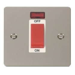 Click Define Pearl Nickel Flat Plate 1 Gang 45A Double Pole Switch with Neon with White Insert