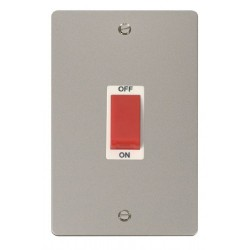 Click Define Pearl Nickel Flat Plate 2 Gang 45A Double Pole Switch with White Insert
