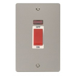 Click Define Pearl Nickel Flat Plate 2 Gang 45A Double Pole Switch with Neon with White Insert